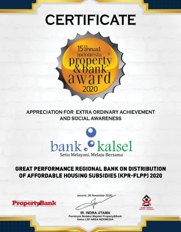 Bank Kalsel Raih Penghargaan KPR FLPP2020