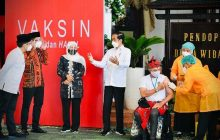 Jokowi Saksikan Vaksinasi AstraZenecadi Sidoarjo
