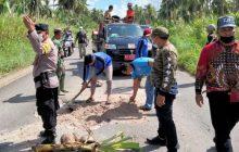 Isi HUT ke-76 RI, Teluk Sampit Gotong Royong Tutupi Lobang Jalan Provinsi